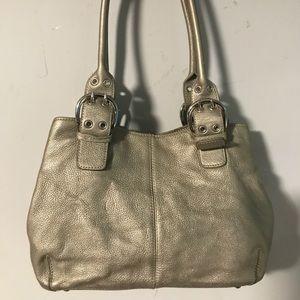 Tignanello gunmetal silver satchel